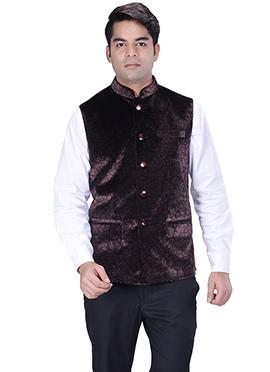 Dark Brown Velvet Nehru Jacket