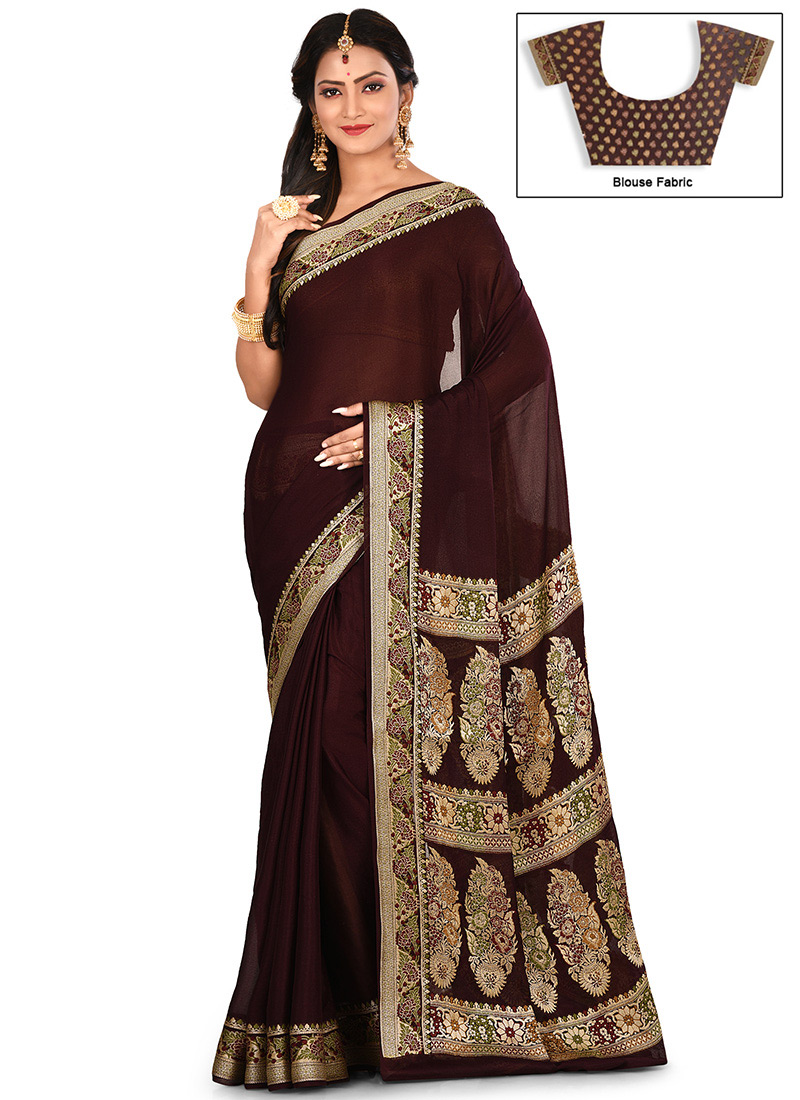 50da58d65d Buy Dark Brown Zari Pure Silk Sree, Zari, sari Online Shopping ...