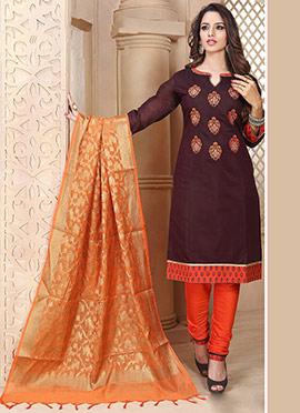 Dark Burgundy Chanderi Art Silk Churidar Suit