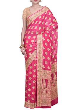 Dark Cerise Pink Pure Silk Saree