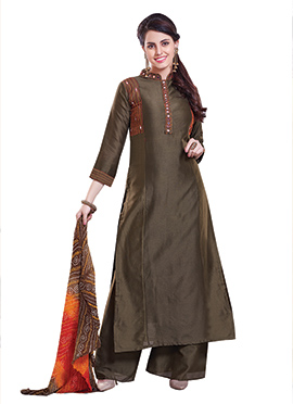 Dark Chocolate Brown Chanderi Silk Palazzo Suit