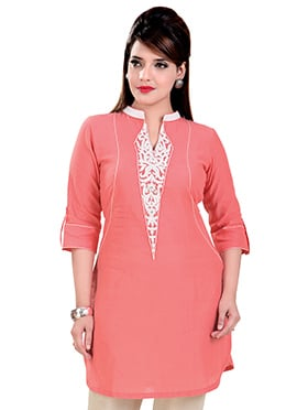 Dark Coral Peach Linen Short Kurti