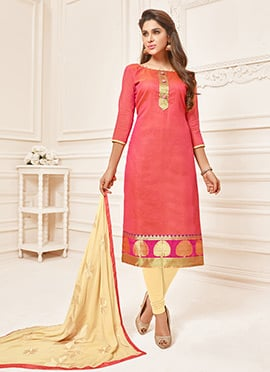 Dark Coral Pink Art Silk Churidar Suit
