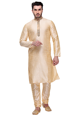 Dark Cream Art Dupion Silk Kurta Pyjama