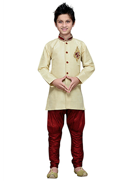 Dark Cream Breeches Style Hand Work Boys Sherwani