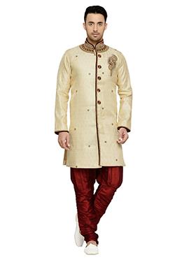Dark Cream Brocade Indowestern Kurta Pyjama