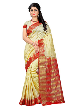 Dark Cream Linen Zari Weaved Saree
