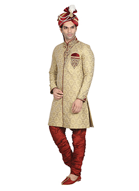 Dark Cream N Red Breeches Style Sherwani