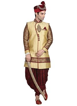 Dark Cream Stripe Patterned Dhoti Style Sherwani