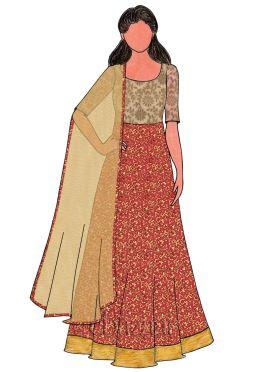 Dark Gold Art Dupion Silk N Pink Brocade Gown