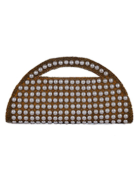 Dark Gold Moti N Bead Embellished Clutch