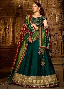 Dark Green Art Benarasi Silk A Line Lehenga