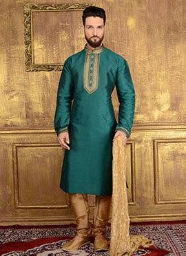 Dark Green Art Benarasi Silk Kurta Pyjama