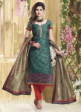 Dark Green Art Chanderi Silk Churidar Suit