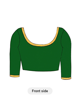 Dark Green Art Raw Silk Blouse with Elbow Sleeve