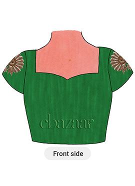 Dark Green Art Raw Silk Embroidered Blouse