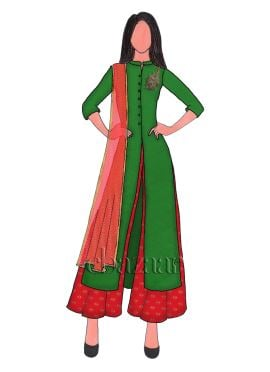 Dark Green Embroidered Flared Palazzo Suit