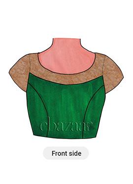Dark Green Art Raw Silk Short Sleeve Blouse