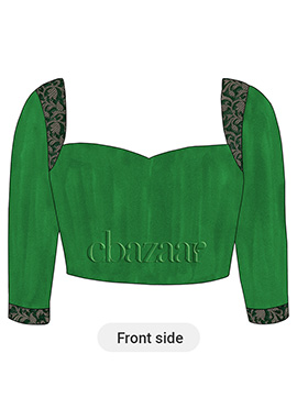 Dark Green Art Raw Silk Sweet Heart Neck Blouse