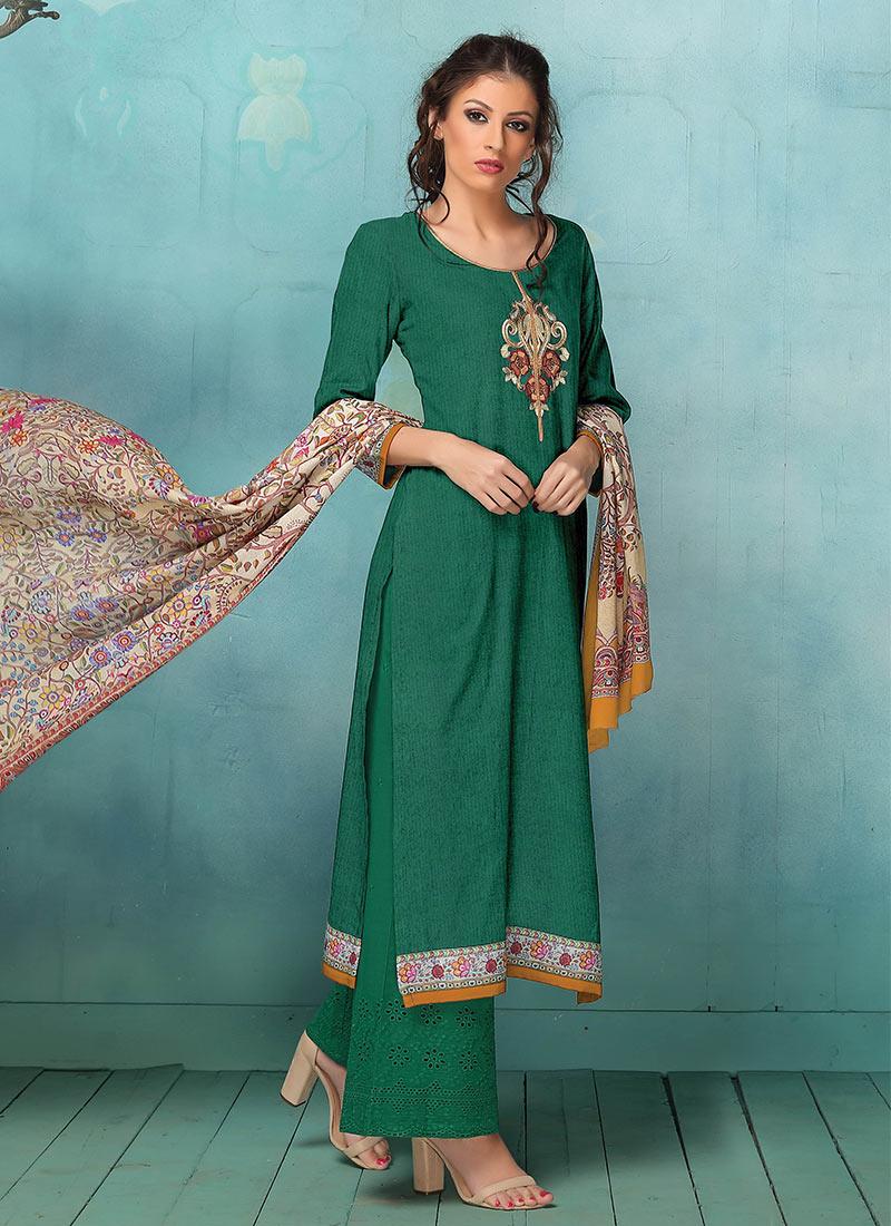 Buy Dark Green Art Silk Palazzo Suit, palazzo-suit Online Shopping ...