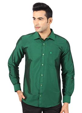 Dark Green Art Silk Shirt