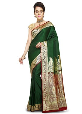 Dark Green Benarasi Pure Handloom Silk Saree