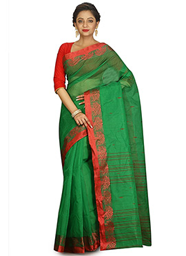 Dark Green Bengal Handloom Tant Saree