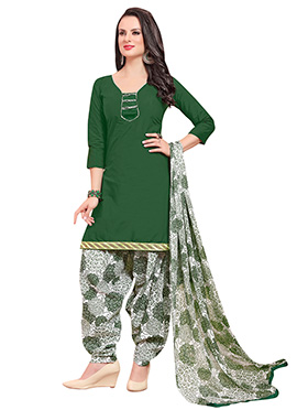 Dark Green Blended Cotton Patiala Suit
