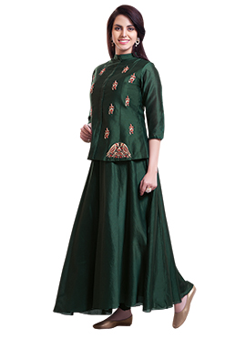 Dark Green Chanderi Pure Silk Skirt Set