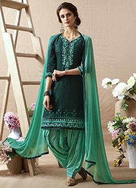 Dark Green Cotton Salwar Suit