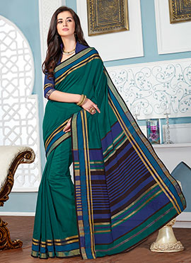Dark Green Cotton Saree