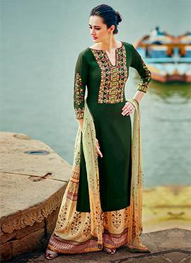 Dark Green Cotton Satin Palazzo Suit