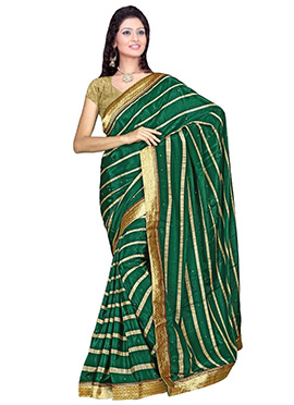 Dark Green Crepe Saree