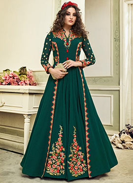 Dark Green Embroidered Abaya Style Anarkali Suit