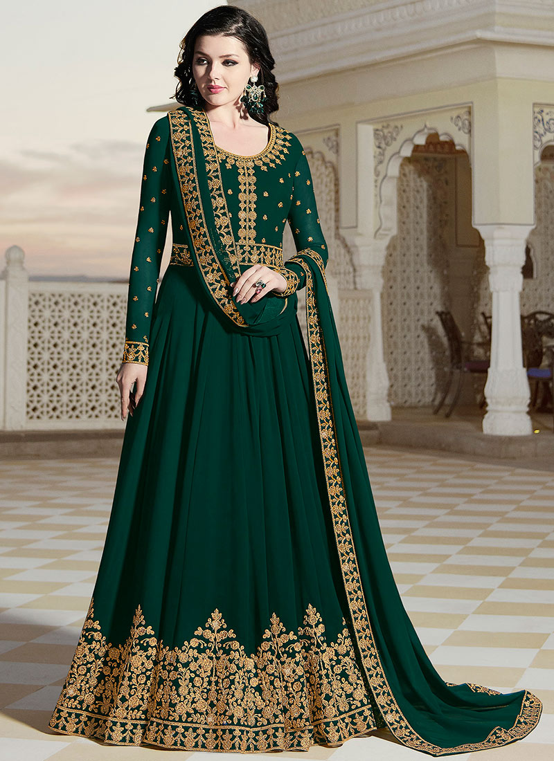 9114bf5b5e Buy Dark Green Embroidered Abaya Style Anarkali Suit, Embroidered ...