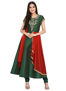 e517fd59977 Dark Green Embroidered Anarkali Suit doodle PromotionsIcon