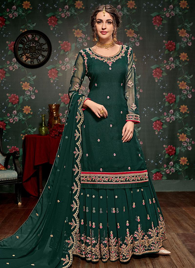 b04606b2d3 Buy Dark Green Embroidered Lehenga, Embroidered, a line lehenga ...