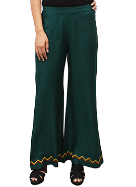 Dark Green Embroidered Palazzo Pant