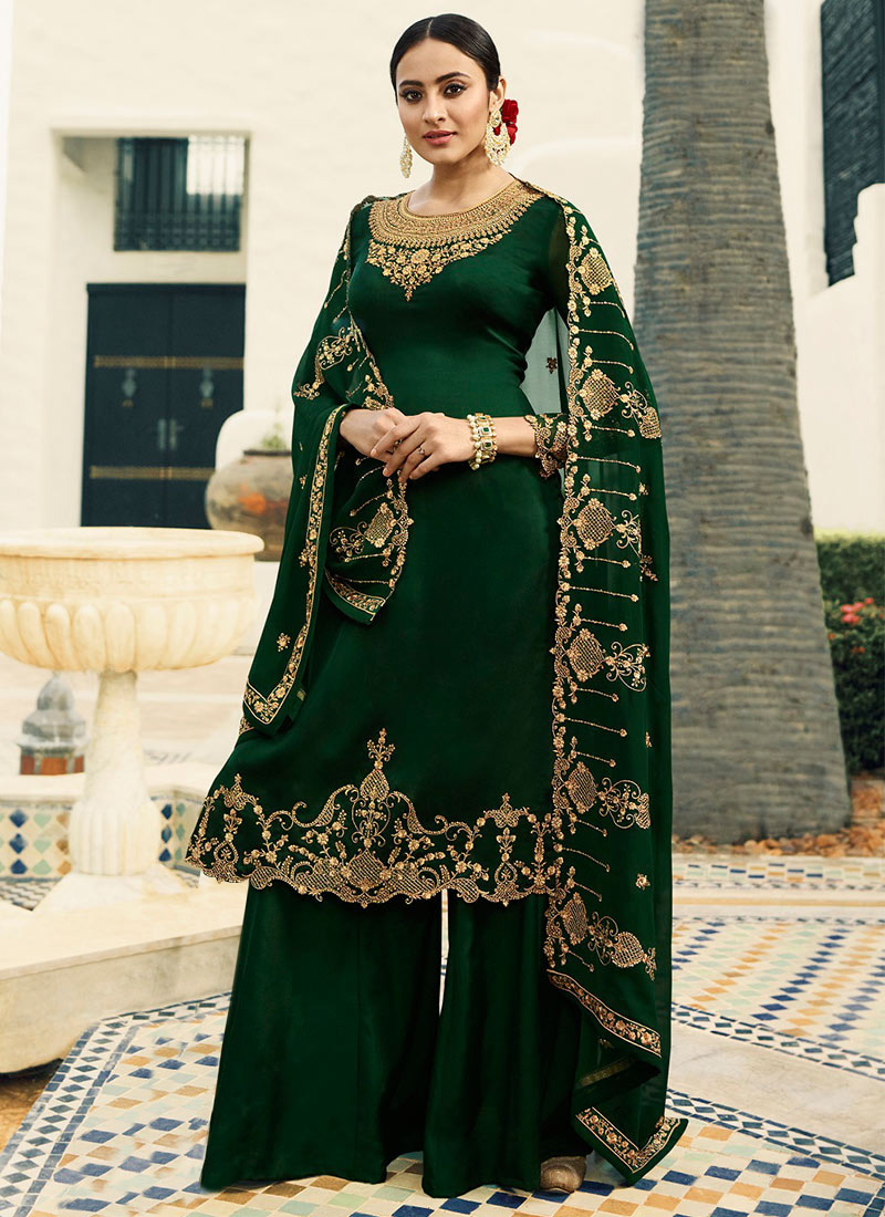 1f0b17a0bc Dark Green Embroidered Palazzo Suit