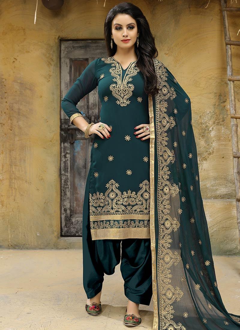 Buy Dark Turquosie Green Embroidered Salwar Suit Embroidered