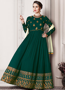 Dark Green Georgette Abaya Style Anarkali Suit