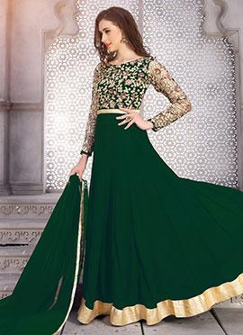 Dark Green Georgette Anarkali Suit