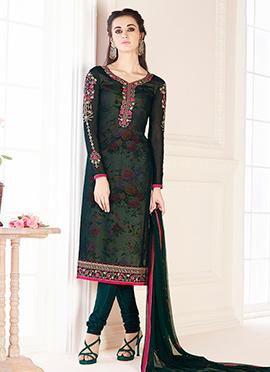 Dark Green Georgette Churidar Suit
