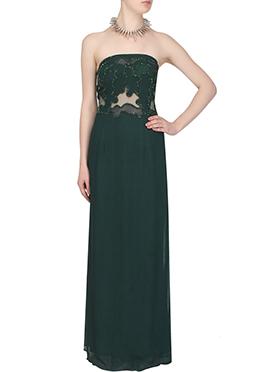 Dark Green Georgette Shoulder less Gown