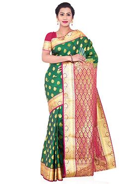 Dark Green Kancheepuram Art Silk Saree