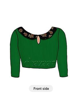 Dark Green N Black Peter Pan Neck Blouse