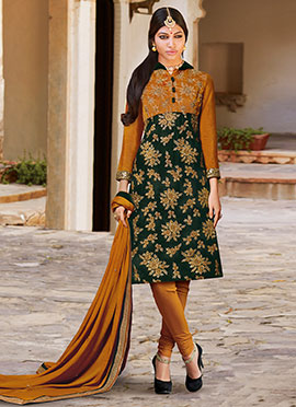 Dark Green N Ochre Velvet Churidar Suit
