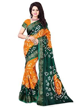 Dark Green N Orange Bandhini Saree