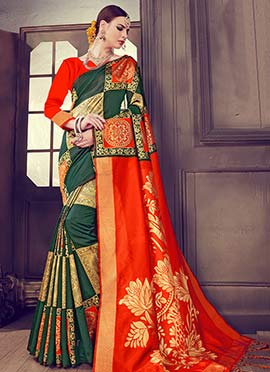 Dark Green N Orange Zari Woven Saree