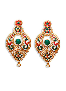 Dark Green N Red Beads Chandbali Earrings